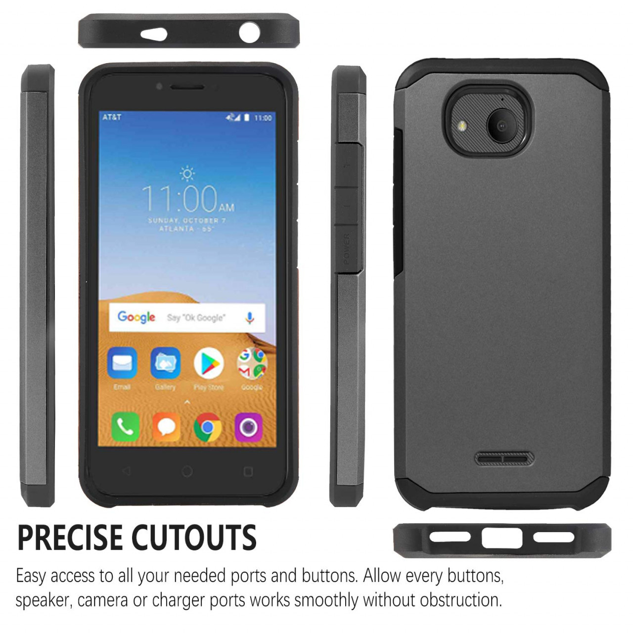 Tommulti, Alcatel Tetra 5041C Phone Case,Dual Layers Impact Advanced Rugged  Protective Phone Cover-Black