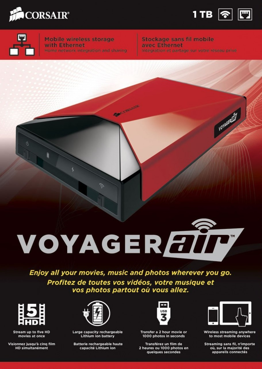 Corsair Voyager Air 1TB Wireless Mobile Storage With Ethernet (NAS), iOS  and Android, RED (CMFAIR-RED-1000-NA)