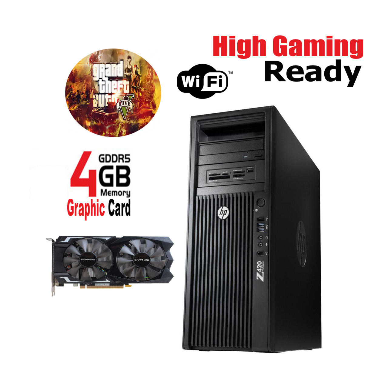 HP Z420 Gaming PC 8 Core E5-1650 8GB RAM 1TB Hard Drive Price in