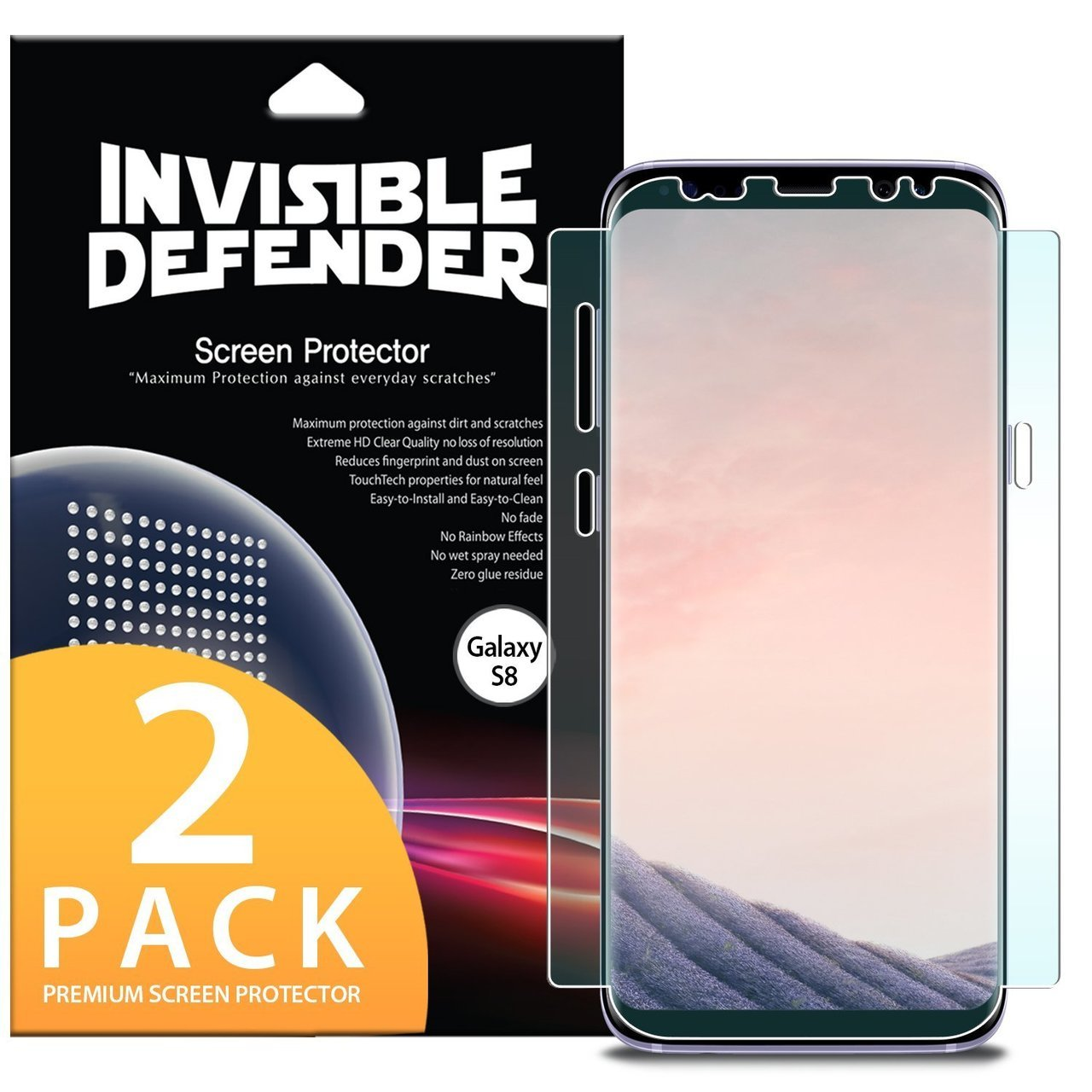 pretty nice 9622b fc559 Ringke Invisible Defender Edge to Edge Coverage Case Friendly Protector for  Samsung Galaxy S8 Plus