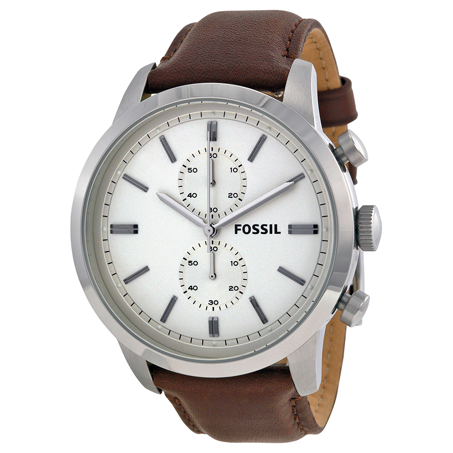 26b496f7a HomeFashionMenWatchesFossil Men's FS4865 Townsman Stainless Steel Watch  With Brown Leather Band. image