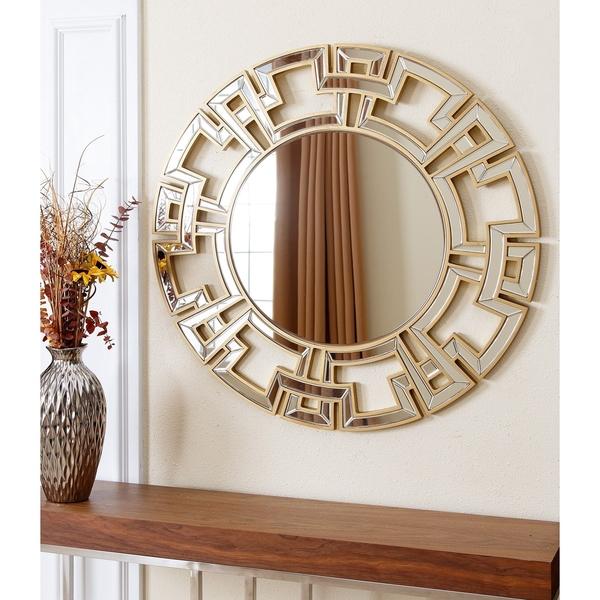Abbyson Pierre Round Wall Mirror Gold Bevelled Edges