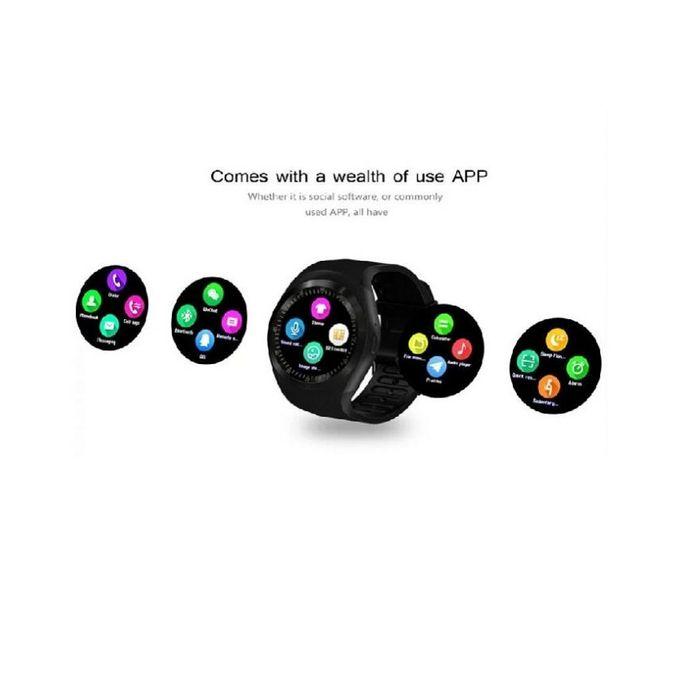 Y1 - Round Dial Smart Watch - Black