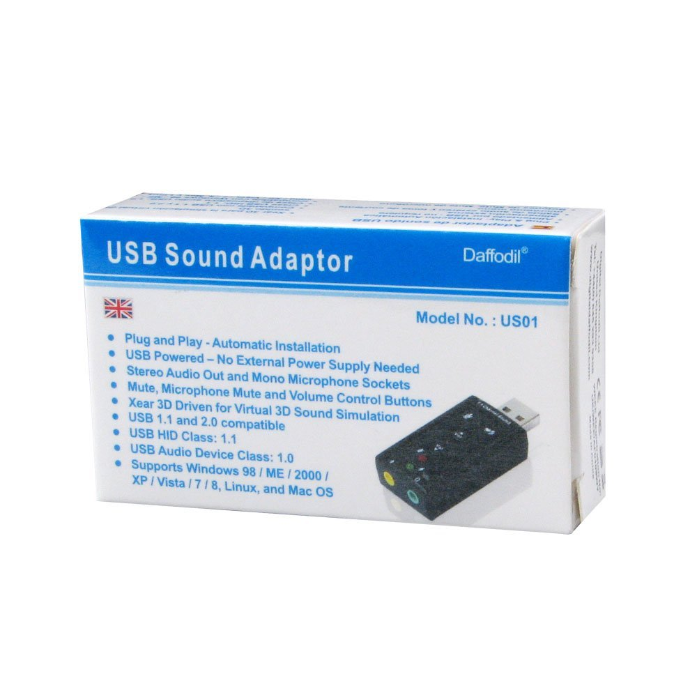 Daffodil US01 USB Sound Card 7 1 Channel / Plug and Play / Microphone (Mic)  In and 3 5mm Speaker Out - For XP / VISTA / Windows 7