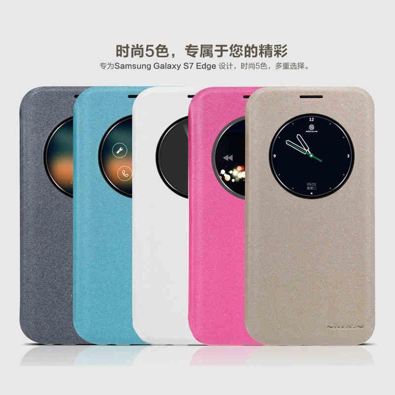 new style 711eb 82df3 Nillkin Sparkle Leather Flip Case Galaxy S7 Edge