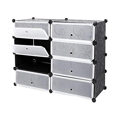 DIY Portable Shoe Rack Storage Organizer 4 Cube Double Side