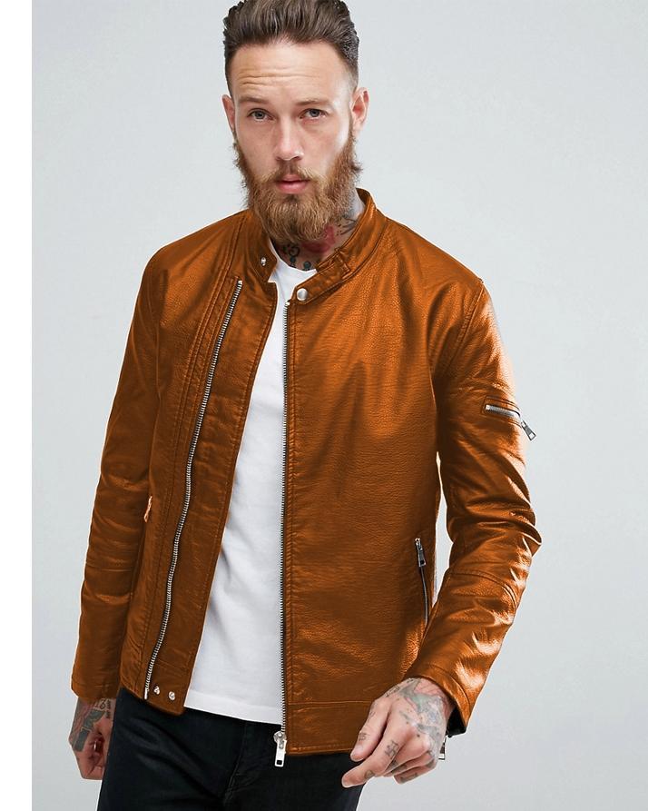 2316b66eb MONCLER Faux Leather Highstreet Jacket for Men (Mustard)