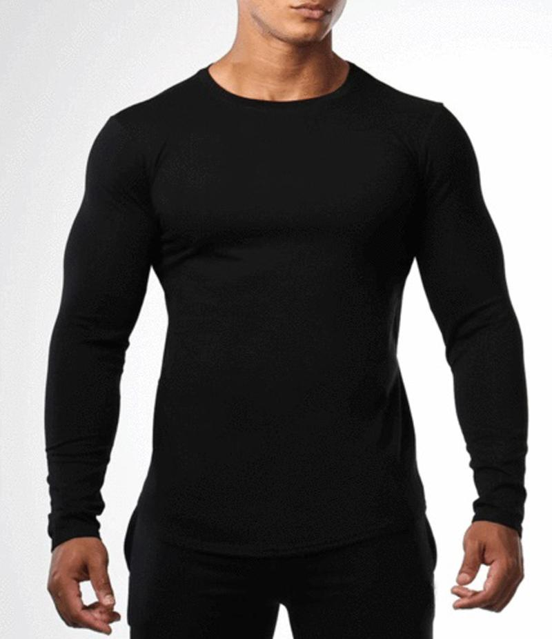 40e069f8259d Black Cotton Long Sleeve Slim Fit T shirt For Men SD 162 Price in ...