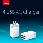 Genuine YOOBAO High Speed 4 USB AC Charger For All Smart PhonesTablets