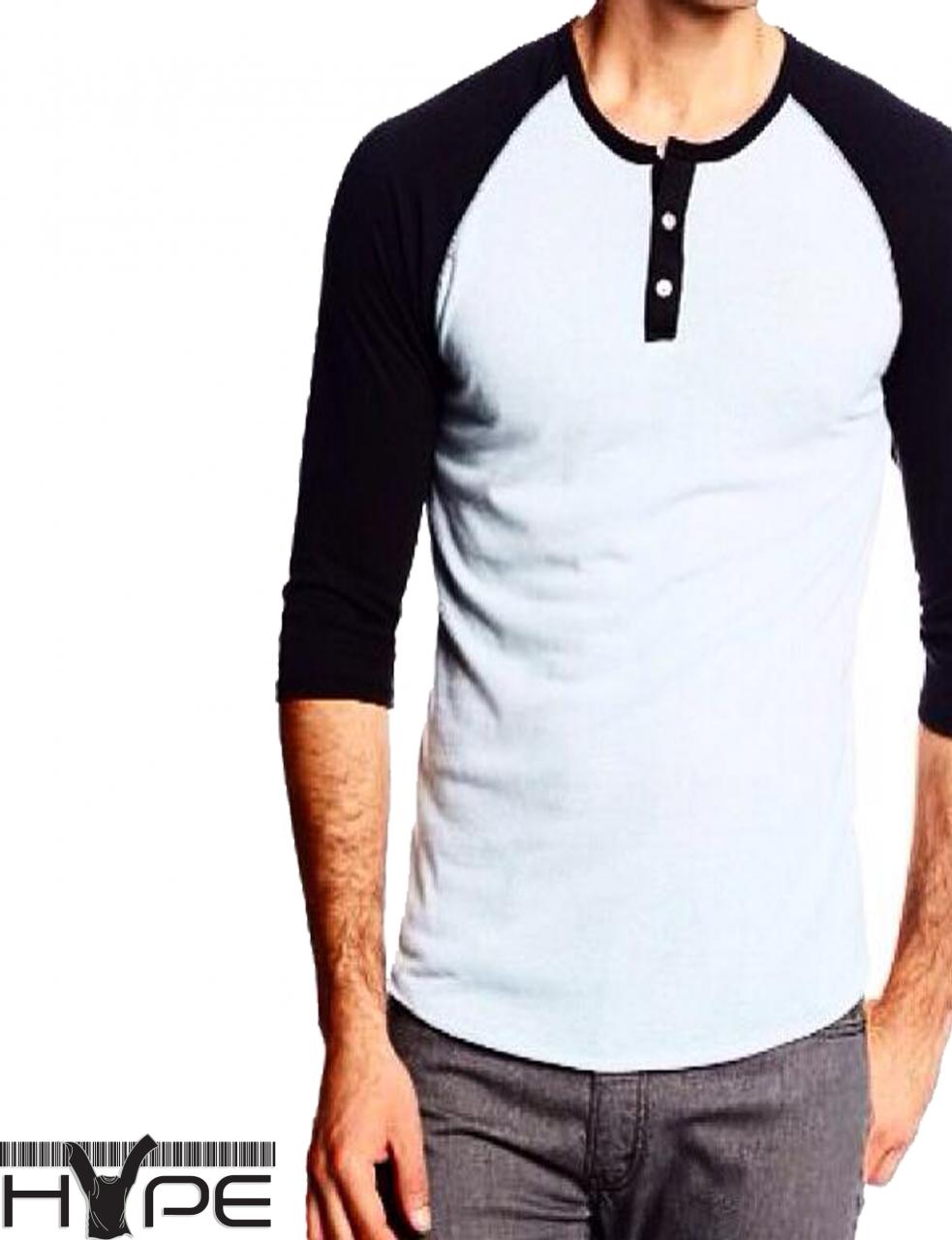 Men black white henley t shirt pakistan home shopping for Mens shirts online shopping