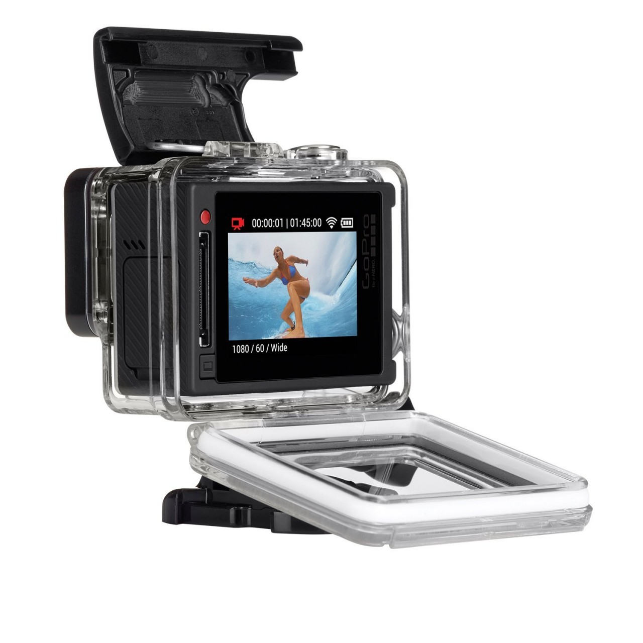 gopro hero 4 with extra battery silver at home shopping. Black Bedroom Furniture Sets. Home Design Ideas