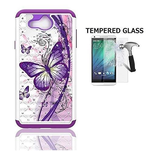Tommulti, Alcatel Tetra (5041C) Phone Case,Studded Diamond Bling Cover Case  (White-Purple Butterfly)