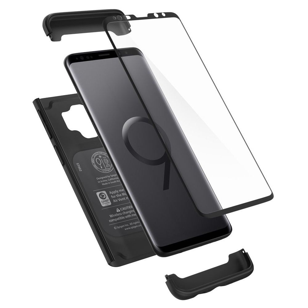 buy online 15e9b fcca0 Samsung Galaxy S9 Plus Spigen Original Thin Fit 360 - Black Case with Glass  Protector