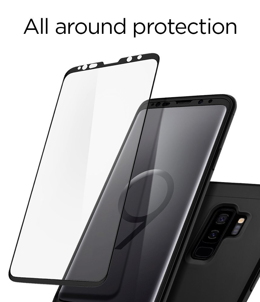 buy online 92f08 0a971 Samsung Galaxy S9 Plus Spigen Original Thin Fit 360 - Black Case with Glass  Protector