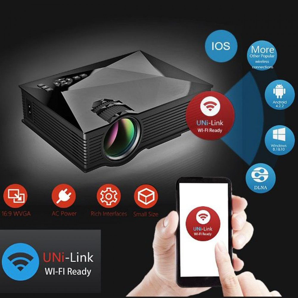 Unic Uc46 1200 Mini Lcd Projector Price In Pakistan Ho Portable Full Hd 1080p Support Red And Blue 3d Effect With Wifi Connection