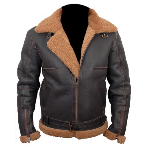 79595608b Aviator Brown Sheepskin Leather Jacket Price In Pakistan