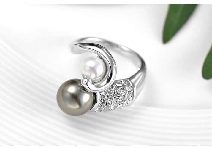 platinum plated pearl ring silver platinum plated pearl