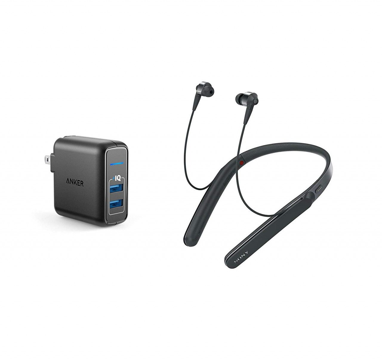 5df16589558 ... EarphonesSonySony WI1000X/B Noise Cancelling Bluetooth Headphone Bundle  with Dual Port 24W USB Travel Wall Charger Black. image