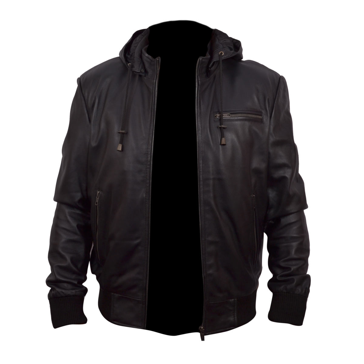 Mens Hoodie Black Bomber Leather Jacket Price In Pakistan