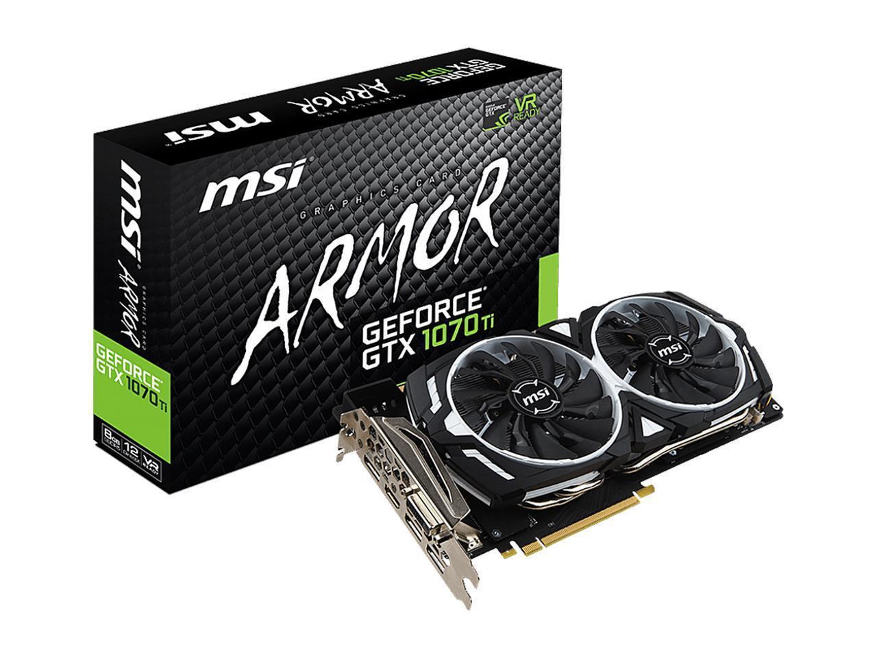 MSI GeForce GTX 1070 TI ARMOR 8G 8GB 256-Bit GDDR5 PCI Express 3 0 x16 HDCP  Ready SLI Support Graphics Card (1 Year Warranty)