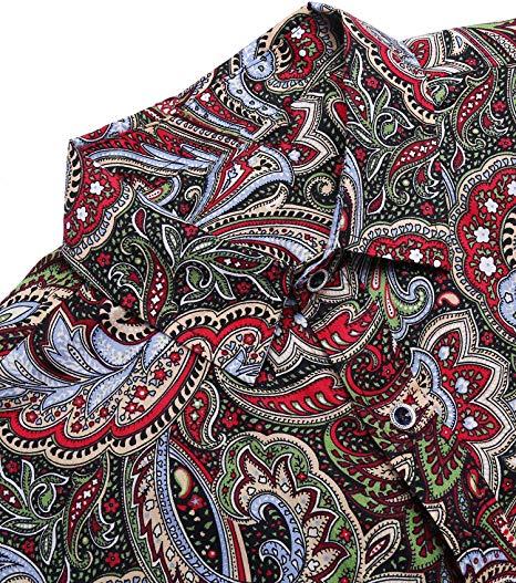 COOFANDY Mens Paisley Cotton Long Sleeve Shirt Floral Print Casual Retro Button Down Shirt