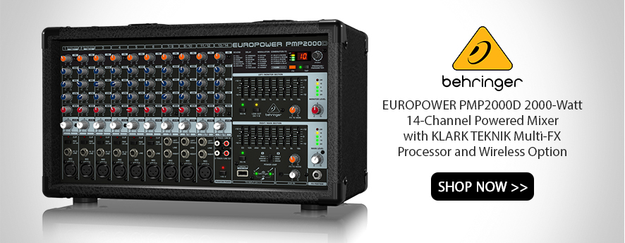 Behringer EUROPOWER PMP2000D 2000-Watt 14-Channel Powered Mixer with KLARK TEKNIK Multi-FX Processor and Wireless Option