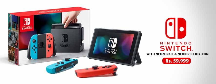 Nintendo Switch With Neon Blue & Neon Red Joy‑Con