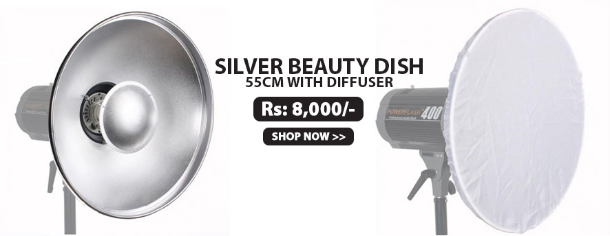 Silver Beauty Dish 55cm with Diffuser
